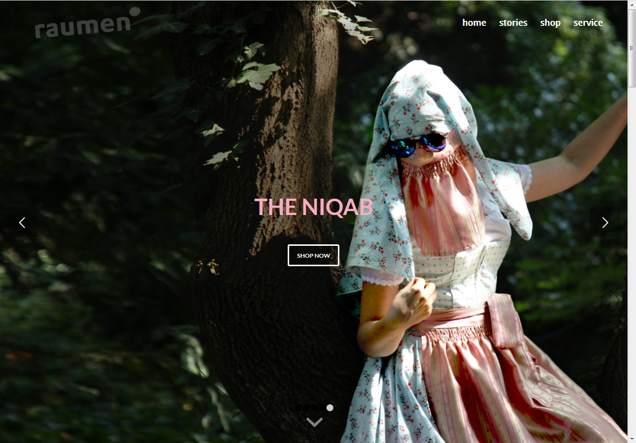 Screenshot of the niqab shop website showing the  dirndl niqab
